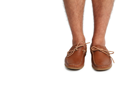 moccasins: Fashion leather and brown moccasins shoes on white background