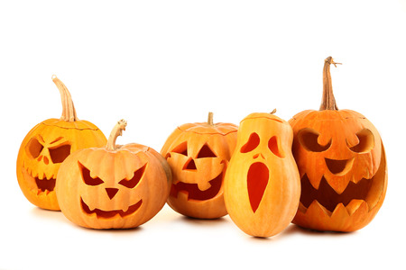 Halloween pumpkins isolated on a white Banco de Imagens