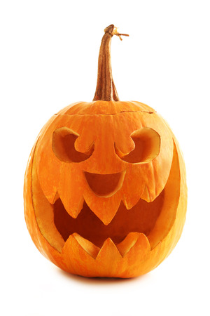 pumpkin carving: Halloween pumpkin isolated on a white Stock Photo