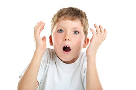 emotional: Portrait of emotional little boy on white background