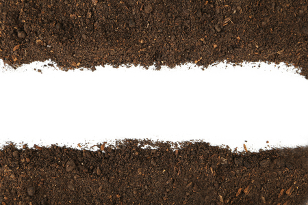 Soil on white background Stock Photo