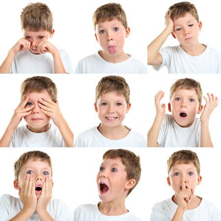 antics: Collage of emotional little boy on white background