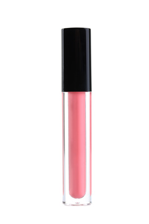 gloss: Pink lip gloss isolated on a white Stock Photo