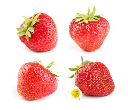 fresa: Collage de las fresas baya aislado en blanco