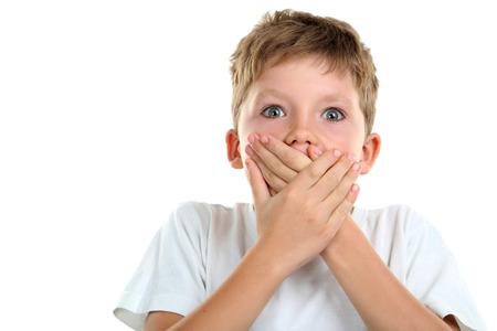 antics: Portrait of emotional little boy on white background