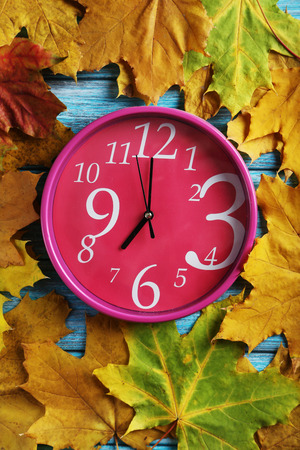 o'clock: Autumn leaf with oclock on a blue wooden table