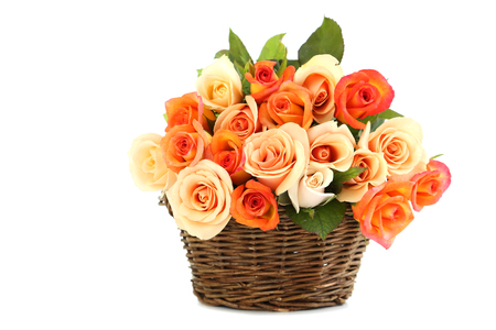 basket: Bouquet of orange roses in basket isolated on white Stock Photo
