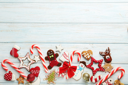 gingerbread cookie: Christmas cookies on a blue wooden table Stock Photo