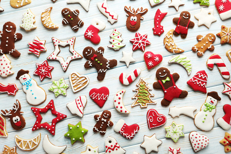 Christmas cookies on a blue wooden table Archivio Fotografico