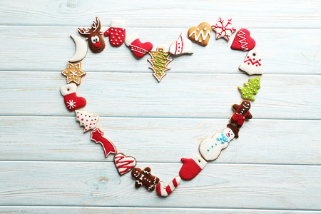 Christmas cookies on a blue wooden table 스톡 콘텐츠