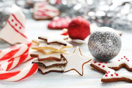 christmas cookies: Christmas cookies on a blue wooden table Stock Photo