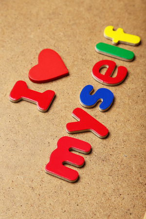 magnets: I love myself words made of colorful magnets