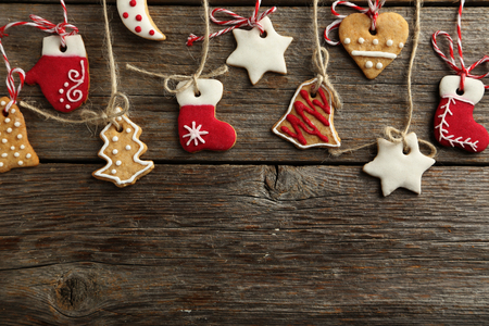 christmas spices: Christmas cookies on a grey wooden table