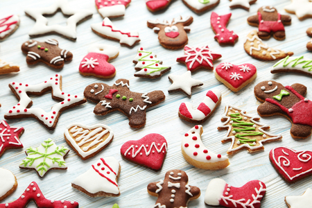 gingerbread cookies: Christmas cookies on a blue wooden table Stock Photo