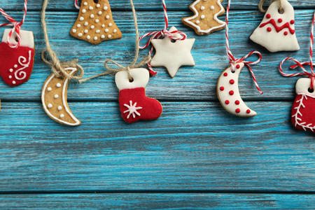Christmas cookies on a blue wooden table Stock Photo - 49304134