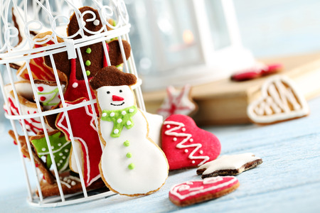 christmas cookies: Gingerbread cookies on a blue wooden table Stock Photo