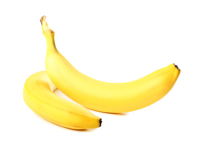 flesh colour: Two bananas isolated on a white