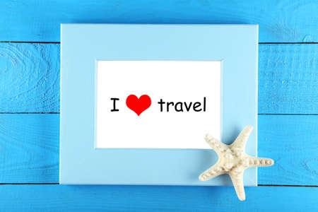rectángulo: Me encanta viajar Foto de archivo