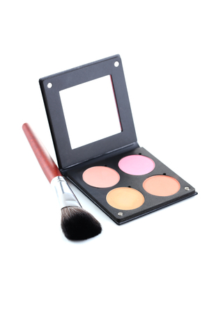 blusher: Makeup blusher with mirror isolated on a white
