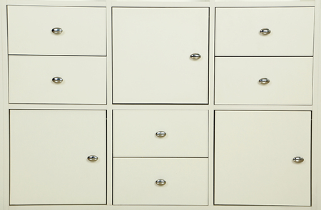 drawers: White wooden boxes, white chest of drawers