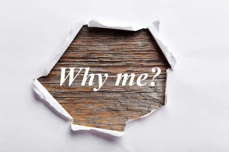 riped: Torn white paper, for text, close up, why me Stock Photo