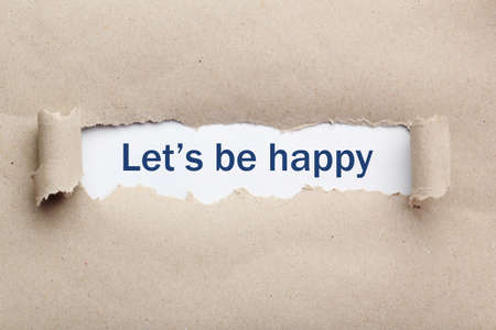 be: Torn brown paper, for text, close up, lets be happy