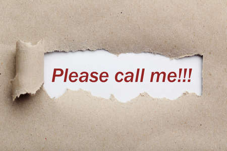 call me: Torn brown paper, for text, close up, please call me
