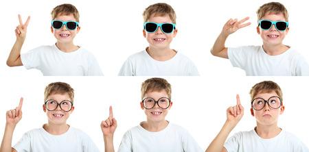 antics: Portrait of emotional little boy on white background, collage Stock Photo