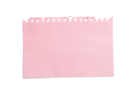 Piece of note paper on white background Stock Photo