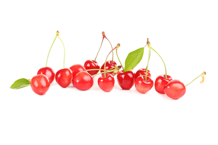 cherries isolated: Ripe cherries isolated on a white background Stock Photo