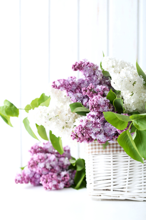 paneling: Blooming lilac flowers in the basket on wall paneling background