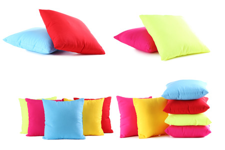 Colorful pillows isolated on a white Stock Photo