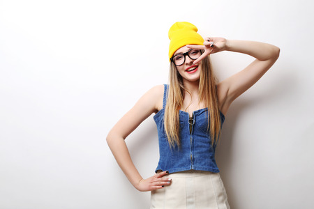Portrait of a beautiful hipster girl