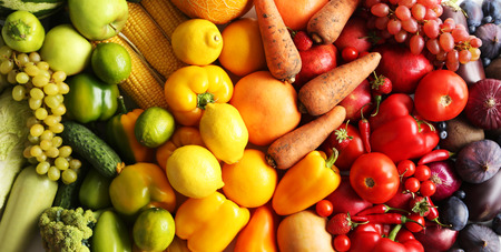 Ripe and tasty fruits and vegetables background Stock Photo