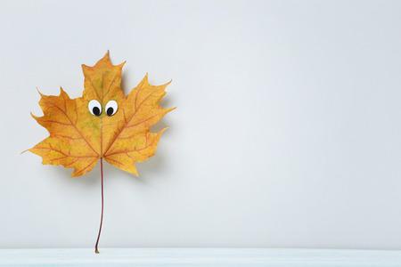 calendario octubre: hoja del otoño con los ojos saltones sobre fondo gris Foto de archivo