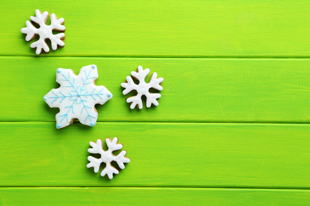 Christmas cookies on a green wooden table Stock Photo