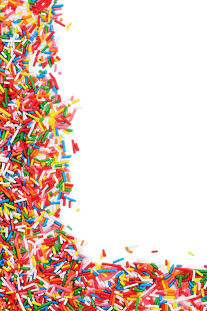 Colorful sprinkles on a white background