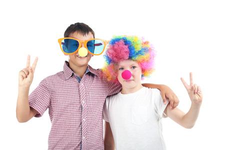 Happy children on a white background