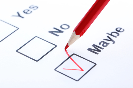 maybe: Check boxes on white paper Stock Photo
