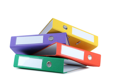 Colorful office folders isolated on a white Stock Photo