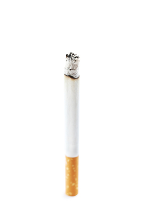 Cigarette with ash isolated on a white