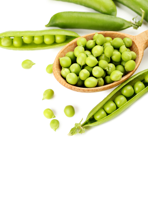 green bean: Green peas isolated on a white background Stock Photo