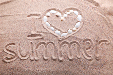 inscriptions: Words written on beach sand with seashells Stock Photo