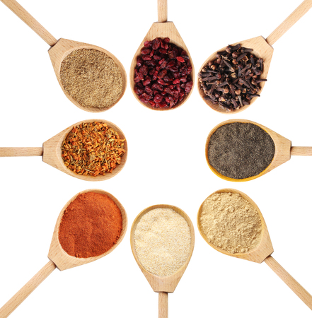 barberry: Collage of different seasoning in wooden spoon Stock Photo