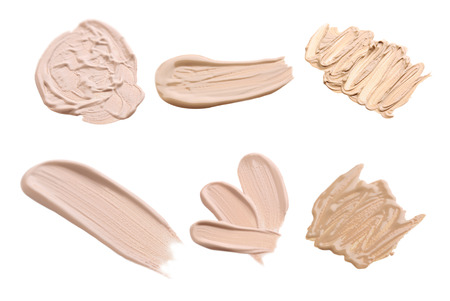 Collage of makeup tonal foundation on white background
