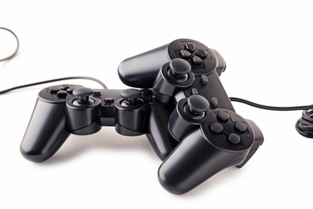 Black joysticks isolated on a white background