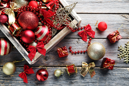 Christmas decorations on grey wooden table