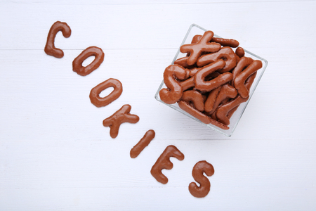 Word Cookies written by chocolate alphabet Stock Photo