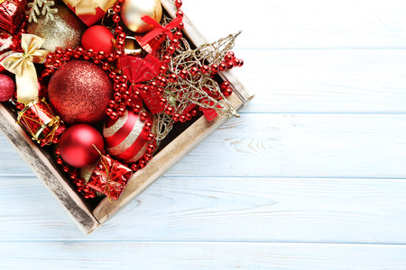 Christmas decorations on blue wooden table Stock Photo