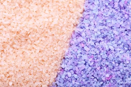 Heap of beige and purple sea salt background